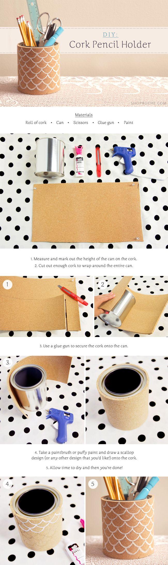 DIY Cork Pencil Holder