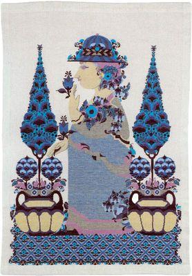 Varenr. 530-6316 Broderi pakning - Bjørn Wiinblad Blå Dame Str. 72 x 95 cm. Broderes med korssting på Hør med 10 tr. pr. cm.  efter tællemønster. Pakken indeholder instruktion, stof, mønster, garn og en nål.