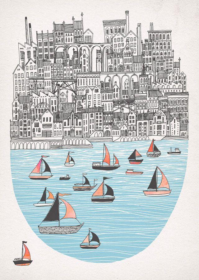 beautiful pen work, and BOATS! I love boats. Fleck — Joppa
