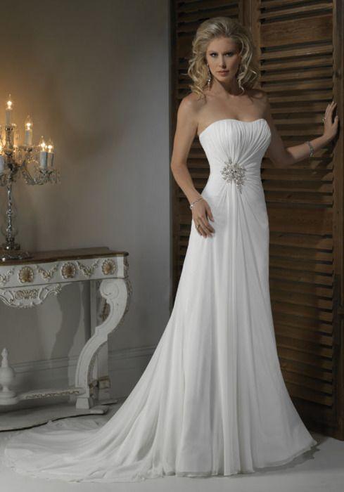 Beautiful!!!: Dresses Wedding, Wedding Dressses, Chiffon Wedding Dresses, Bridal Gowns, Summer Wedding Dresses, Chapel Training, Bride, Simple Wedding, Beaches Wedding Dresses