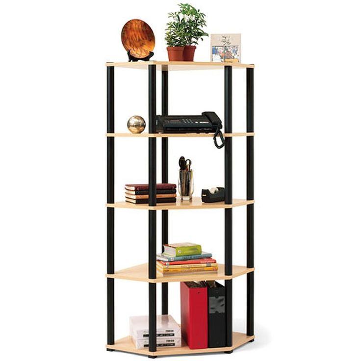 New Corner 5-Shelf Open Bookcase Book Storage Furniture Stand, Light Oak & Black #Grosfillex