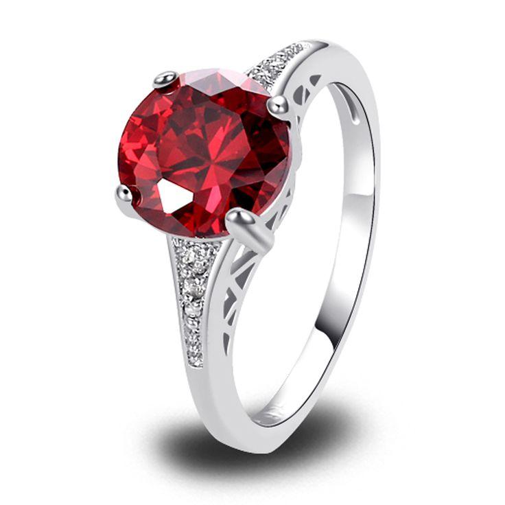 Оптовая продажа великолепная гранат и белый сапфир 925 серебряное кольцо мода размер 6 7 8 9 10 11 12 купить на AliExpress