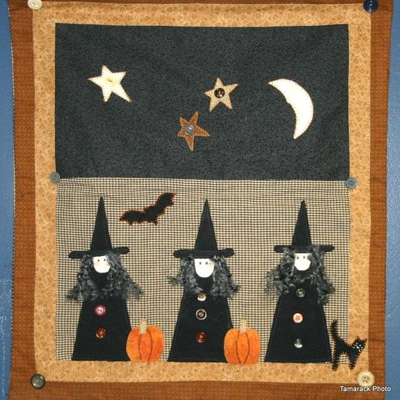 Autumn Witches Quilt Halloween Night - ooh, scary!
