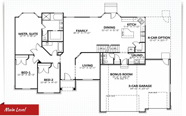 20 harmonious house plans with bonus room house plans for One story house plans with bonus room
