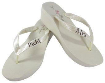 Wedding Flip Flops Wedge Bridal Flip Flops by APricelessPrincess