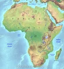 Africa is surrounded by three major oceans/seas, the Mediterranean sea, the Indian ocean, and the Atlantic ocean.