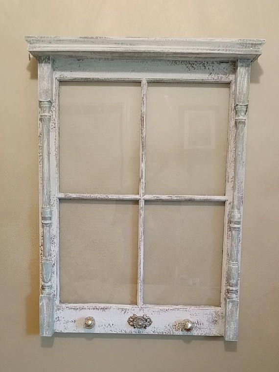 Old Window With Shelf Window Ideas Small 4 Pane Window With Shelf Distressed Window Unique Window Window Decor Upcycled Window Repurposed Shabby Chic Furniture Diy Old Windows Shabby Chic Furniture