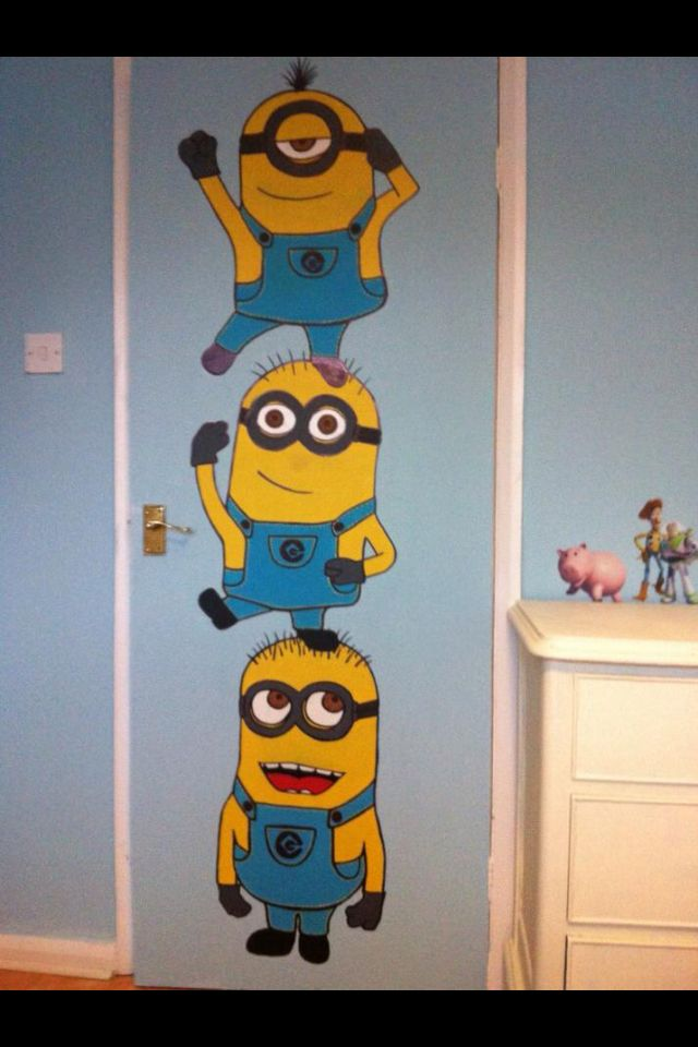 despicable me minions disney themed room hand painted murals and childrens bedroom diy - Childrens Bedroom Wall Painting Ideas