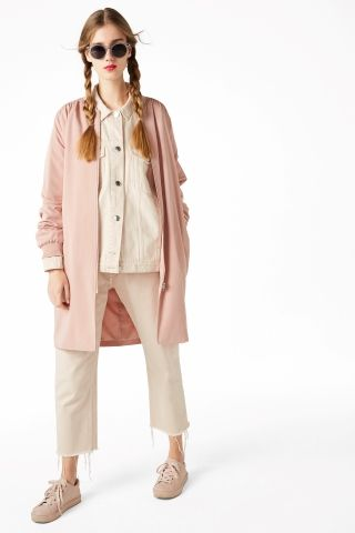 Monki Image 1 of Long bomber jacket in Orange Reddish Light
