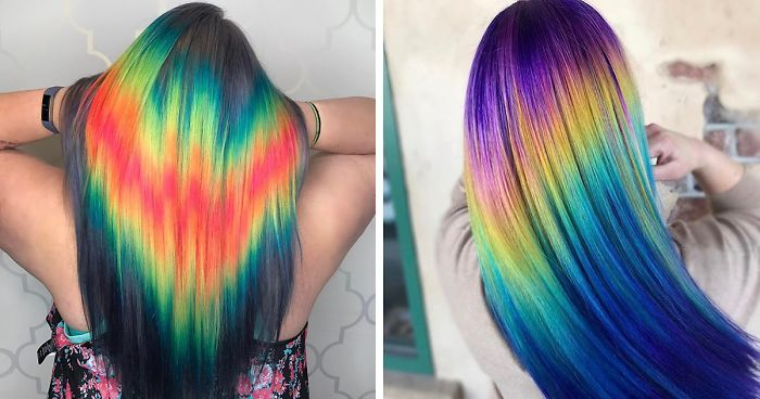 We've had quite a few hair trends in the past year - holographic hair, glow-in-the-dark hair, hidden rainbow hair - to name a few. Yet another new hair trend is on its way and it's kind of like the new and improved rainbow hair trend! Say hello to shine line hair.