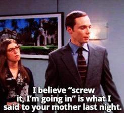 an unlike Sheldon mom joke