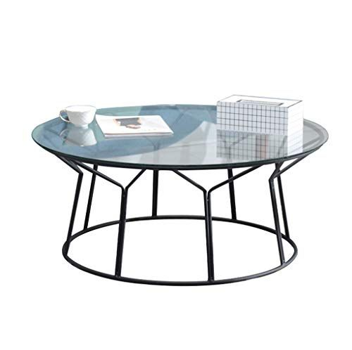 Round Wrought Iron Coffee Table Ferrous Metal Frame Tempered