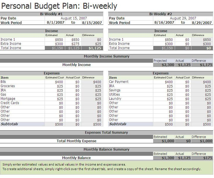 Free Biweekly Budget Excel Template | A Home Of My Own | Pinterest
