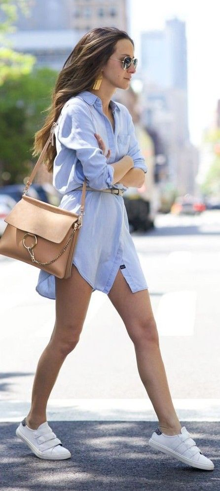 #spring #trends #fashionistas #outfitideas |Chambray Shirt Dress + White Sneakers |Something Navy