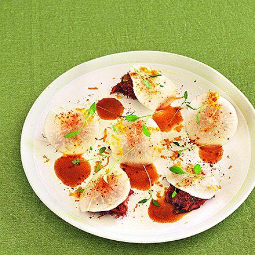 Effilochée de canard,  navets marinés à l'orange, une recette de Tomy Gousset, chef du restaurant Pirouette* à Paris