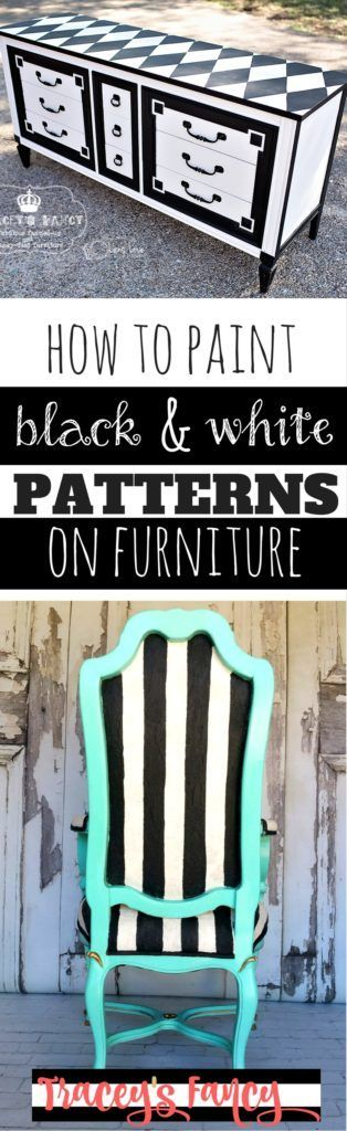 How to paint Black and White Patterns on furniture from stripes, checkboards and harlequins - Painting Tip from Tracey's Fancy