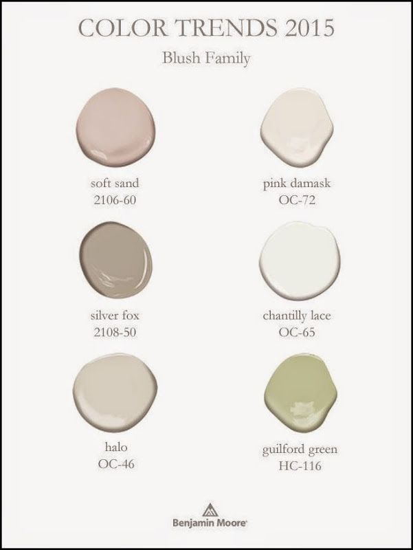Benjamin Moore Color Trends 2015 - Blush family - Guilford green and blush