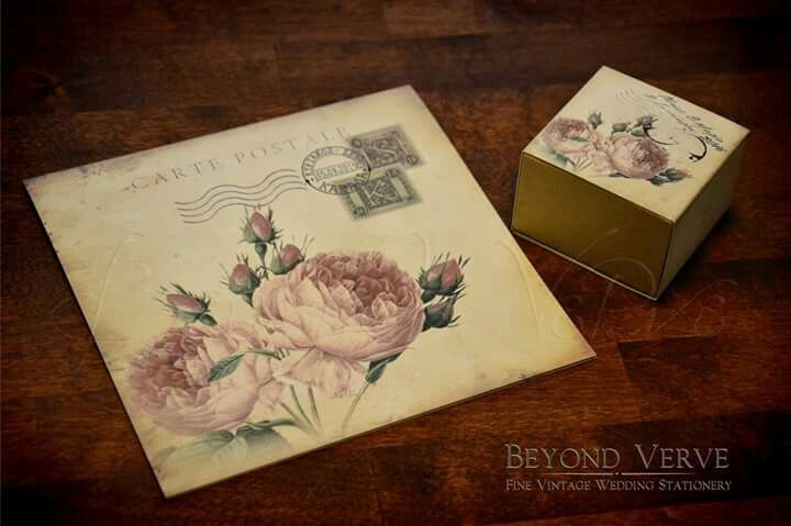 Vintage romantic rose wedding invitation favor box - Wedding stationery