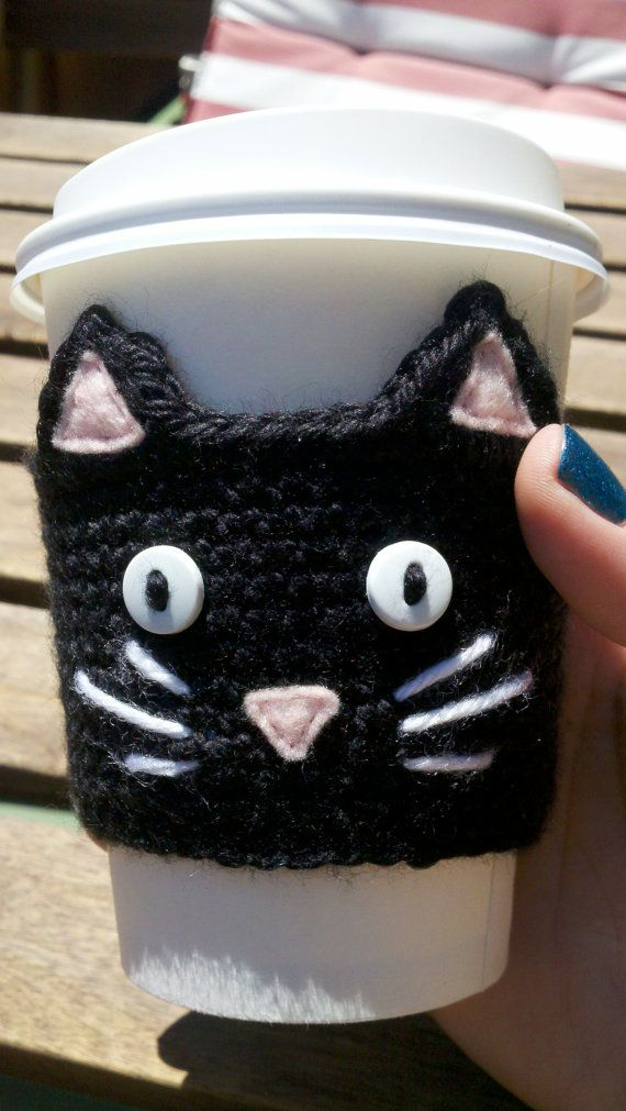 Crochet Black Cat Cup Sleeve Cozy~Love this