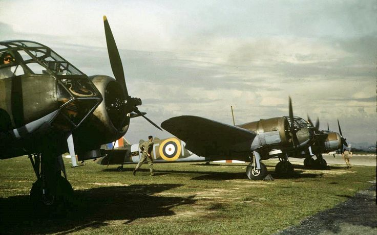 a Line-up of Blenheims at Singapore in April 1941..