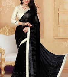 Buy black printed georgette saree With Blouse ethnic-saree online
