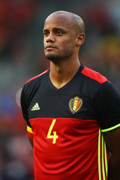 Captain, Vincent Kompany of Belgium stands for the national anthem prior to the International Friendly match between Belgium and Czech Republic at Stade Roi Baudouis on June 5, 2017 in Brussels, Belgium.
