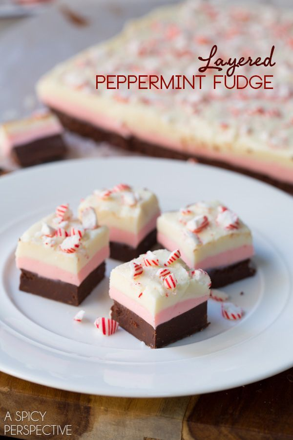 Layered Peppermint Fudge - An easy holiday treat that tastes like heaven! #fudge #peppermint
