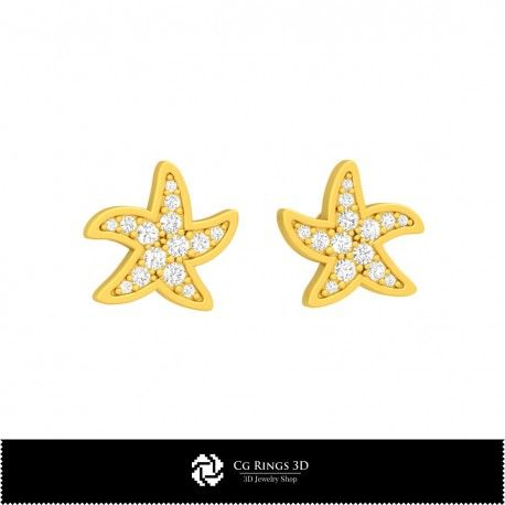 3D CAD Starfish Earrings