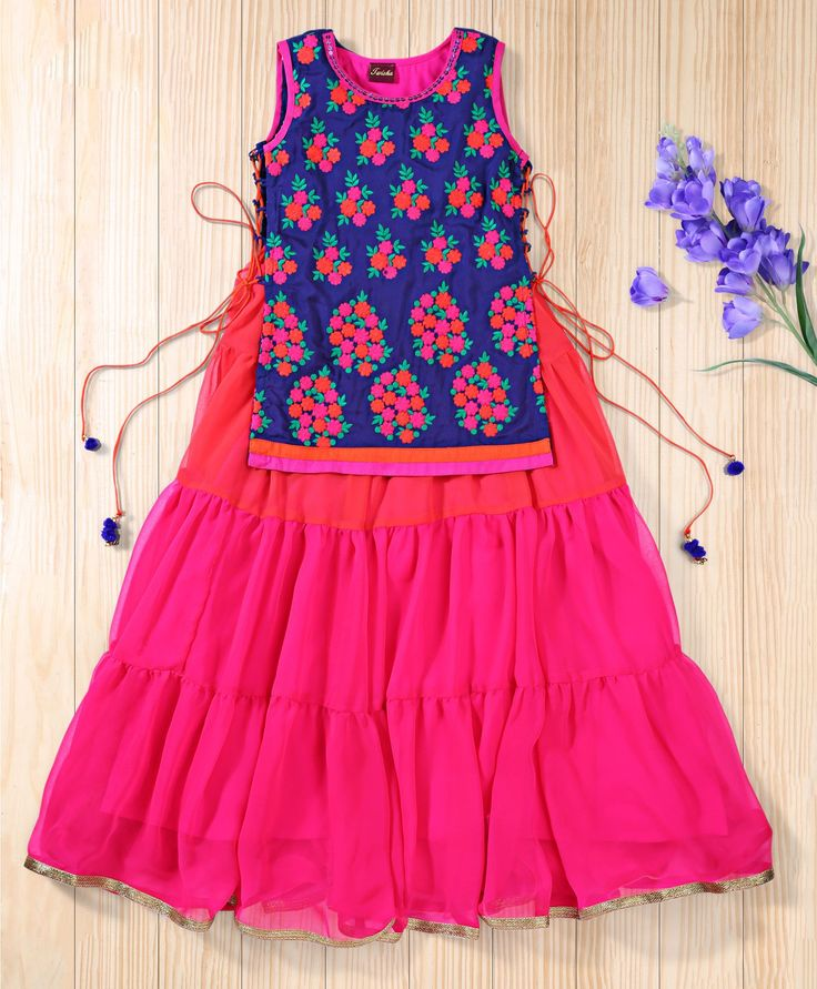 Twisha Hot Pink Traditional Embroidered Jacket And Gown #Trendy, #Gown