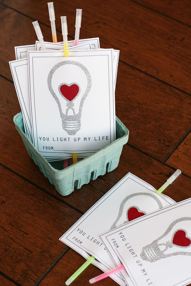"""You Light Up My Life"" Valentines that use Dollar Store glow sticks! Fun idea for students at Graland Country Day School."