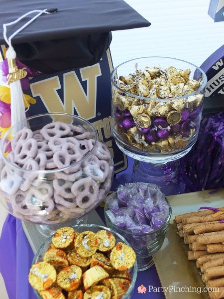 college graduation party, college graduation dessert table, college grad candy buffet, purple and gold candy buffet, University of Washington, UW Huskies, UDub @u