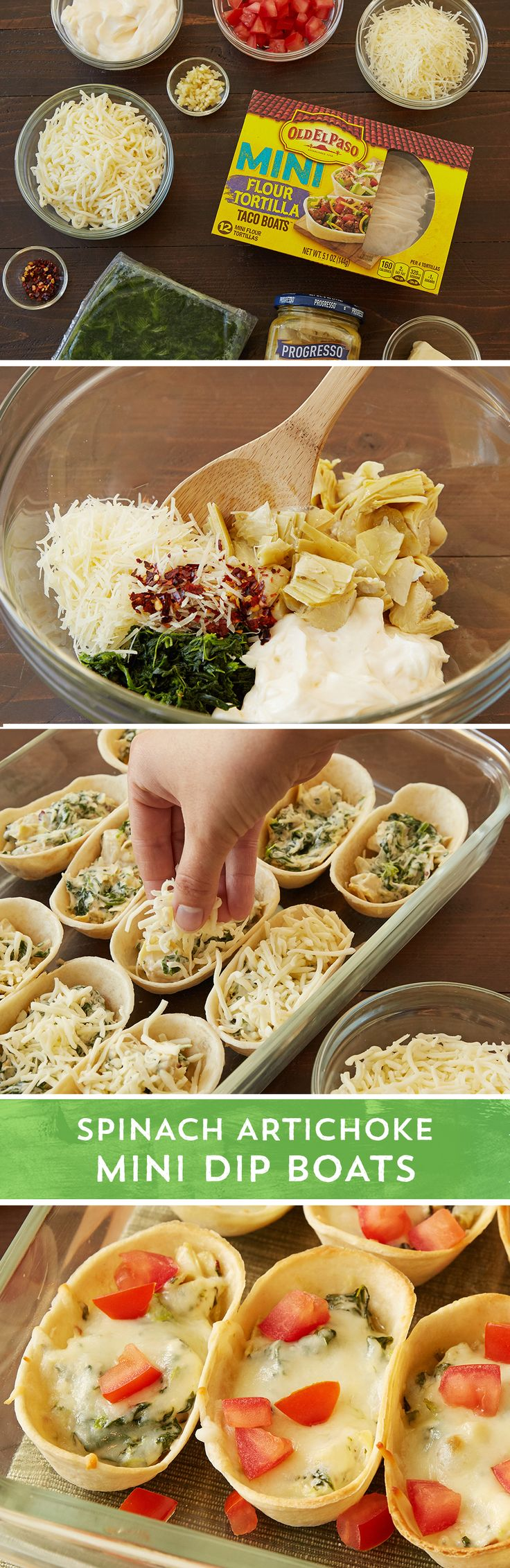 Classic spinach artichoke dip gets portable in these handheld mini taco boats. Don't worry about double dipping with individual spinach artichoke dips baked into delicious taco boats. Frozen chopped spinach, mayo, shredded Parmesan cheese, Progresso™ marinated artichoke hearts, and crushed red pepper flakes come together for the filling in this easy appetizer. Fill Old El Paso™ mini Taco Boats™, top with shredded mozzarella cheese, and bake for 18-22 minutes. Top with diced tomatoes for a…