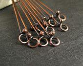 Rustic Copper Headpins with Loop, Oxidized Copper Eyepins, Handmade Jewelry Findings x 10 - CinnamonJewellery