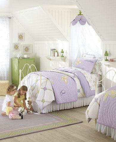 Very simple, yet elegant.  I like the flower light too. Lindsey Lavender Butterfly Bedroom | Pottery Barn Kids