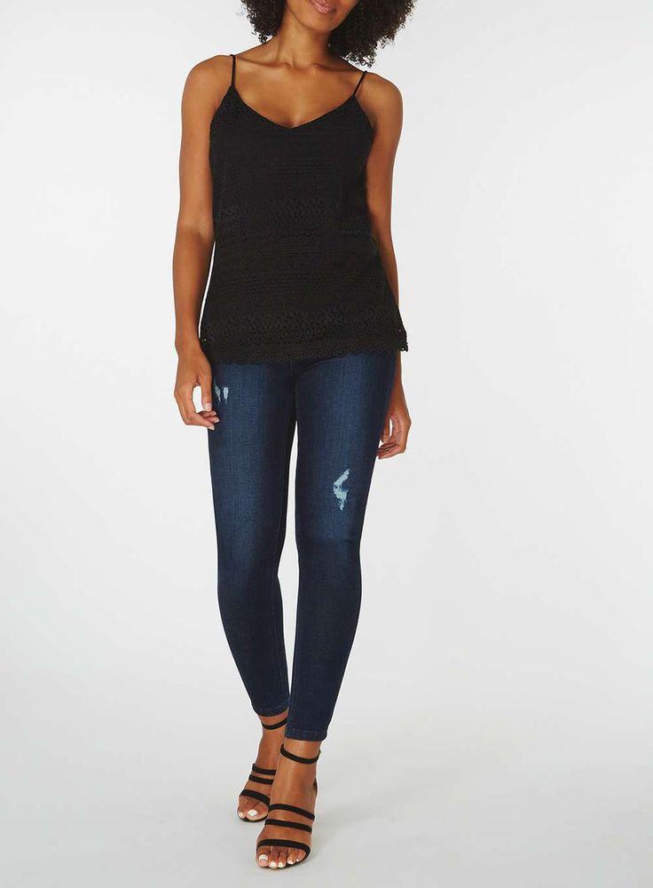 Womens **Vero Moda Black Crochet Camisole Top- Black