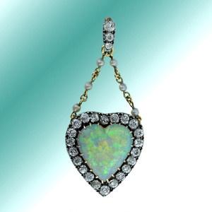 24 best heart shaped opal images on pinterest opal heart shapes victorian heart shaped opal and diamond pendant aloadofball Gallery