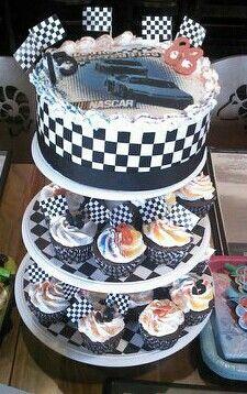 Nascar cake and cupcakes.