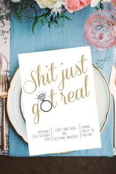 Wedding, Save The Date, DIY Printable Invitation, Engagement, Print at Home, Invite, Shit Just Got Real, Rustic, Fun, Unique, Stationary A 10%