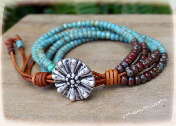 Braccialetto della perla di seme, Bracciale perline in pelle e cuoio.