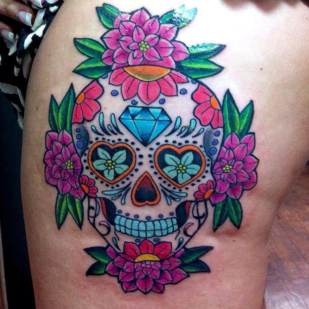 Traditional mexican sugar skull tattoo