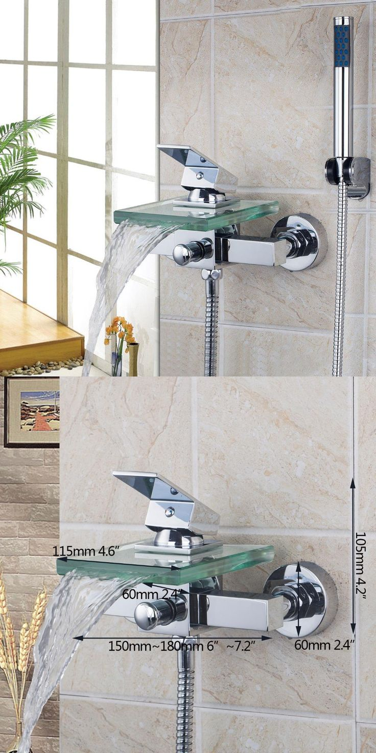 [Visit to Buy] Bath & Shower Faucets 8200/7 Square Wall Mounted Waterfall Glass Spout Bathroom Bath Handheld Shower Tap Mixer Bathtub Faucet #Advertisement
