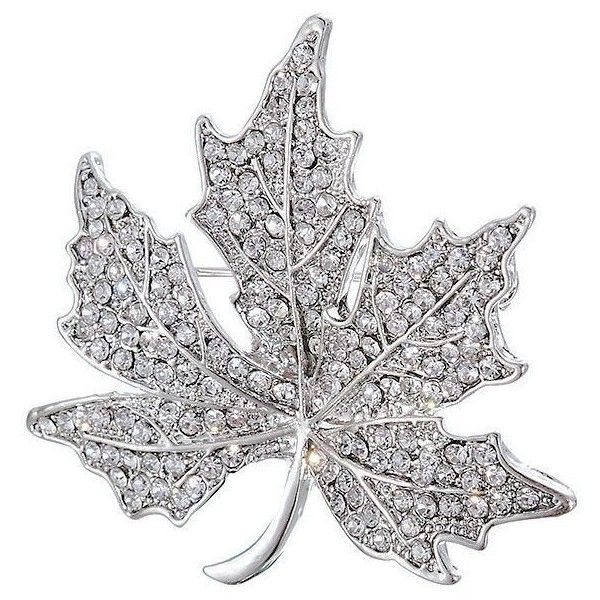 Silver Maple Leaf Brooch ($14) ❤ liked on Polyvore featuring jewelry, brooches, leaves jewelry, silver leaf brooch, silver jewellery, diamante jewelry and silver jewelry