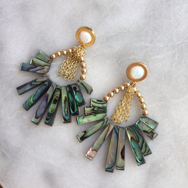 Gold Opal Swing Earrings