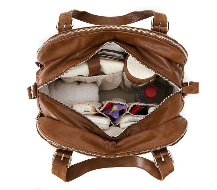 """I really like the inside of this nappy bag. Plenty of pockets on the sides & no annoying """"separating"""" pocket in the middle. Budu Baby Bag in black leather."""