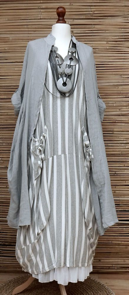 LAGENLOOK OVERSIZE 2 PCS STRIPED MAXI DRESS+LONG LINEN JACKET*GREY/WHITE*XL-XXL