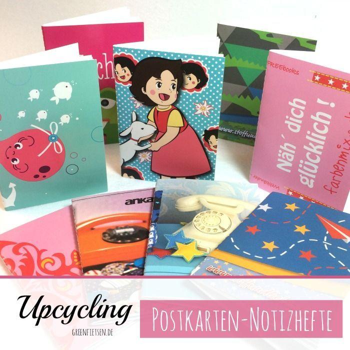 greenfietsen: Upcycling   Notizhefte nähen aus Gratis-Postkarten [Free Tutorial auf greenfietsen.de]