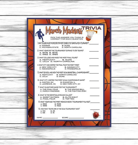 March Madness Trivia March Madness Party Game Basketball Trivia Game Ncaa Trivia Game Printable Game Instant Download In 2020 March Madness Parties Trivia Printable Games