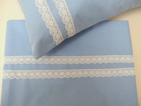 Baby Bedding Set Pillow Sheet Set Personalized by VirgoCottonLinen GreekLinens #BabyBedding #NurseryDecor #BabyPillowSheetSet #LaceBabyBedding #BaptismGift #BabyShowerGift