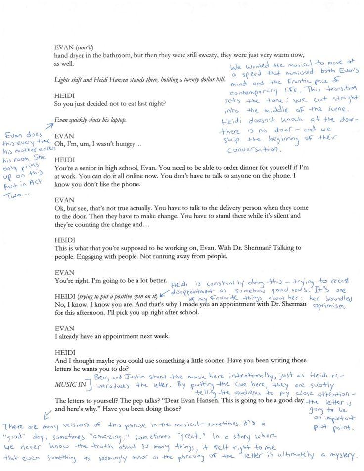 Steven Levenson annotates the first scene of Dear Evan Hansen (2/3)