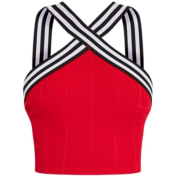 Chantal Red Sporty Bandage Cross Front Crop Top (£5.60) ❤ liked on Polyvore featuring tops, crop top, shirts, sport crop top, cropped tops, crossover front top, bandage crop tops and sports tops
